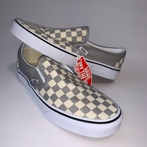 NWB Vans Classic Slip-On Checkerboard Silver